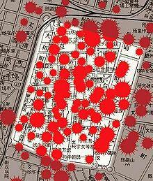 市内における着弾の密集度